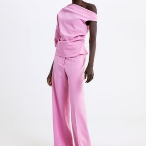 zara asymmetric top pink one sleeve nwt large